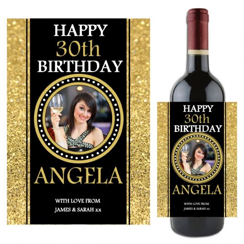 Personalised Happy 18th 21st 30th 40th Birthday Wine / Champagne Bottle PHOTO Label N84 - Any Age